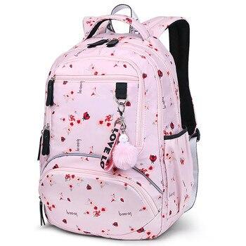 Fashionable Leisure Women Backpack Pink Travel Waterproof Wear Resistant Printing Backpacks Teenage Student Computer Back Pack