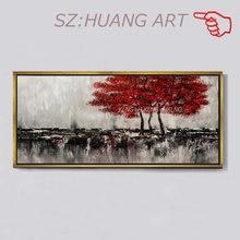 Счастливая Картина Пейзаж с деревом 100% ручная роспись маслом