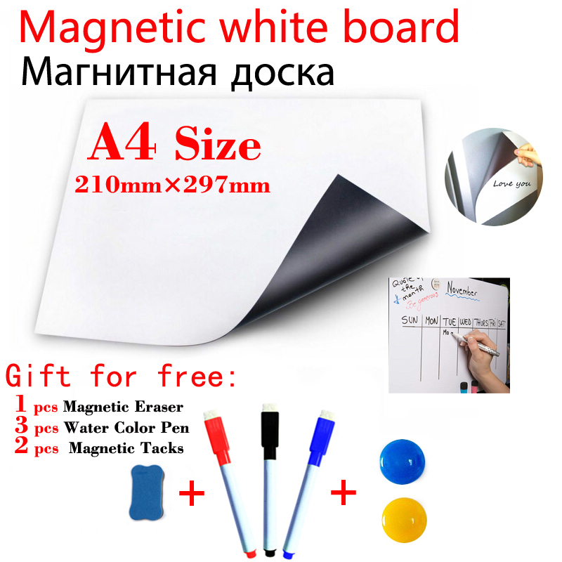 A4 Size Magnetic Whiteboard Kitchen Fridge Sticker Magnets Presentation Message Boards Gift 3 Pen 1Eraser 6 Magnetic Tacks