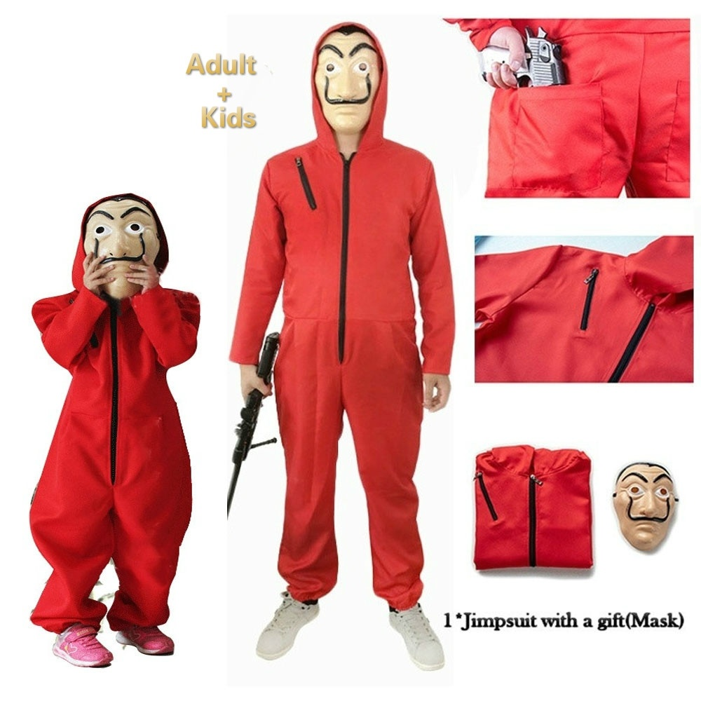 La casa De Papel Cosplay Costume Salvador Dali Money Heist Hoodie Jumpsuit US