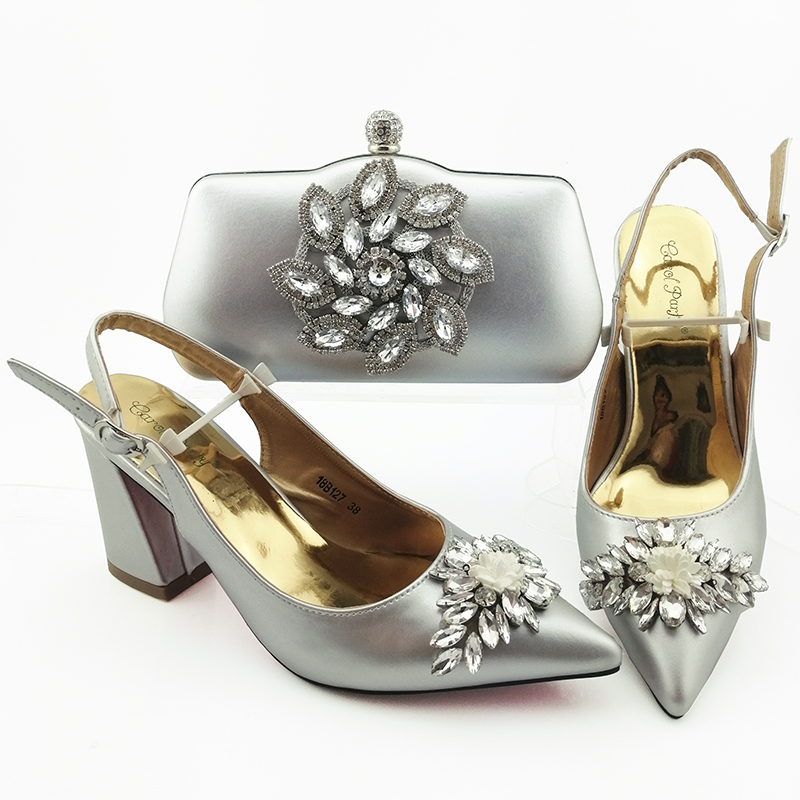 Fashion silver fashion shoes with matching clutches bag new shoes bag free shipping sandal and clutches bag SB8443-1