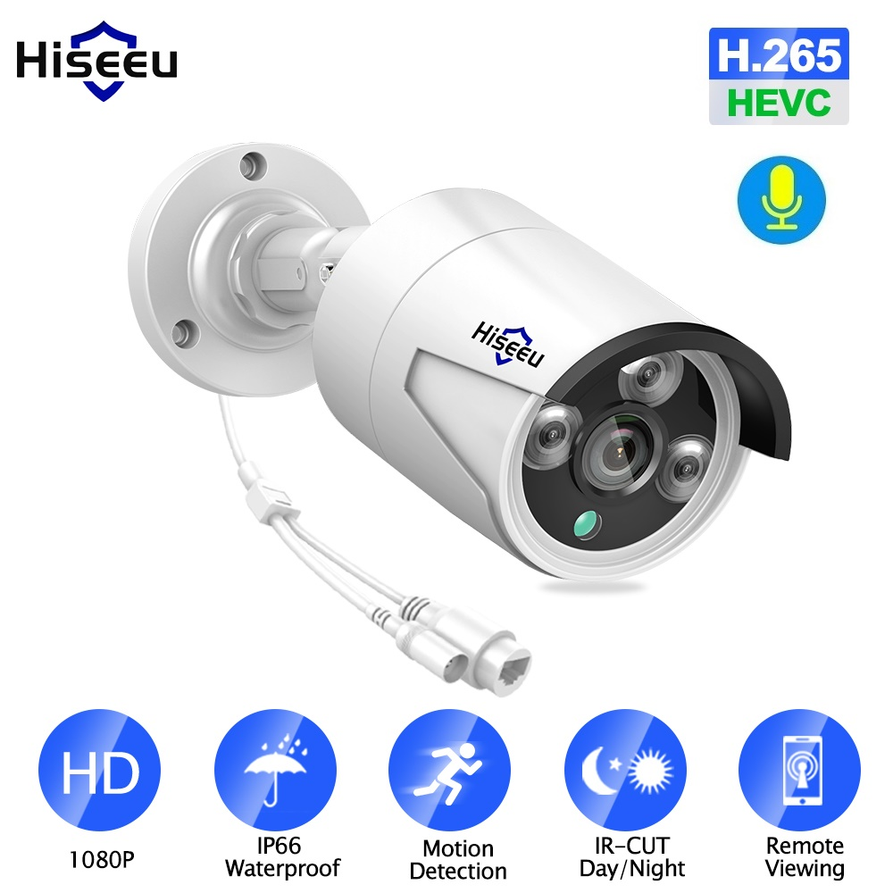 Hiseeu H.265 1080P POE IP Camera 2MP Bullet CCTV IP Camera ONVIF 2.0 For POE NVR System Waterproof Outdoor Night Vision 48V