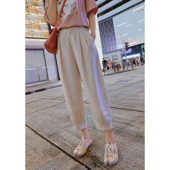 Mishow New Women's Pants 2019 Women Spring Autumn High Waist Wide Leg Pants Casual Loose Cropped Trousers MX19B2591
