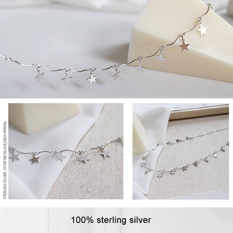 Silver Necklace 925 Star Necklace For Women Fine Jewelry Charm Choker Handmade Gift bijoux femme