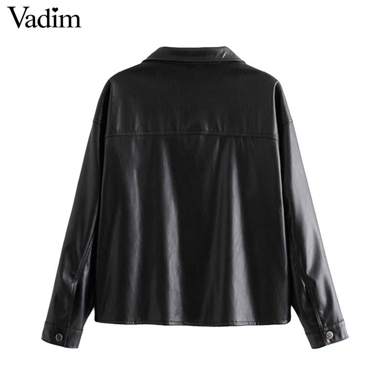 Image 2 - Vadim women chic black PU leather blouse pocket decorate long sleeve turn down collar shirt female stylish casual tops LB573Blouses & Shirts   -