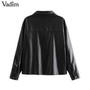 Image 2 - Vadim women chic black PU leather blouse pocket decorate long sleeve turn down collar shirt female stylish casual tops LB573