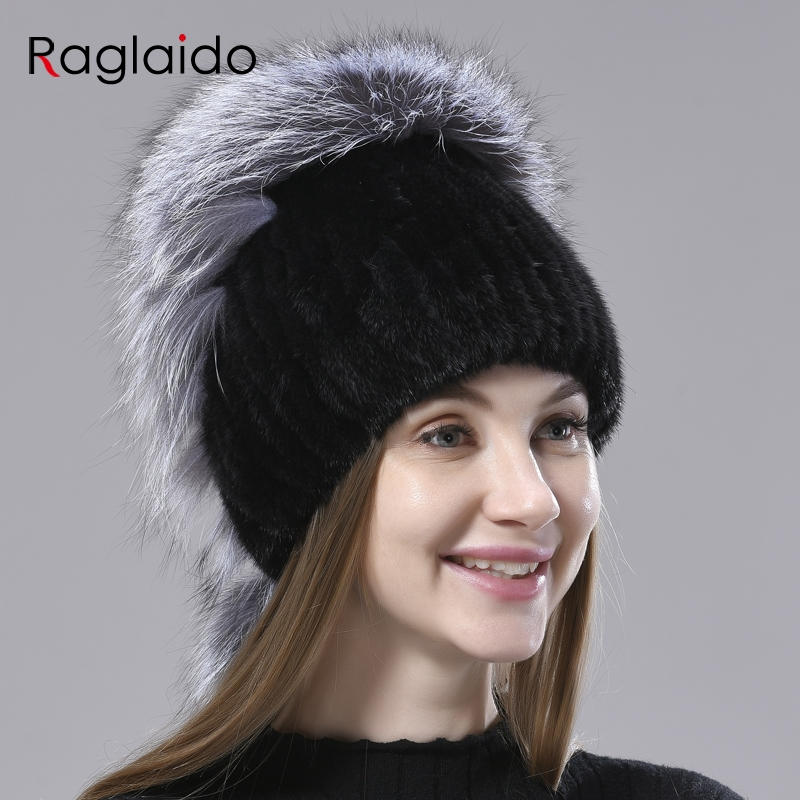 Fur Hats  for Women Knitted Mink Fox Fluffy Winter Warm Hats Female Beanie for Head  55-60cm Elastic Natural Fur Hat