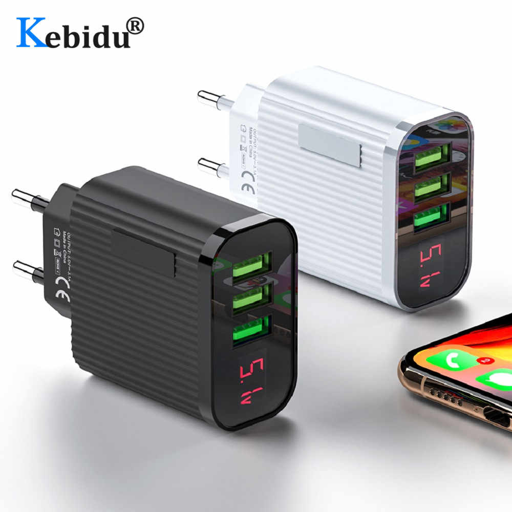 Digitale Display USB Lader 3 Poort 3A Max Smart Fast Charger Telefoon Travel Wall Charger Adapter EU Plug Voor iPhone samsung Xiaom
