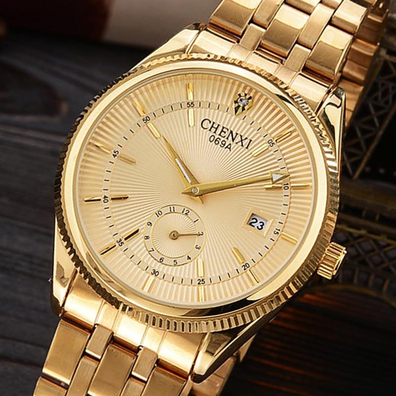 CHENXI Luxury Golden Lady Watch Top Brand Minimalism Calendar Waterproof Quartz Women's Watch Business Dress Clock 069IPG
