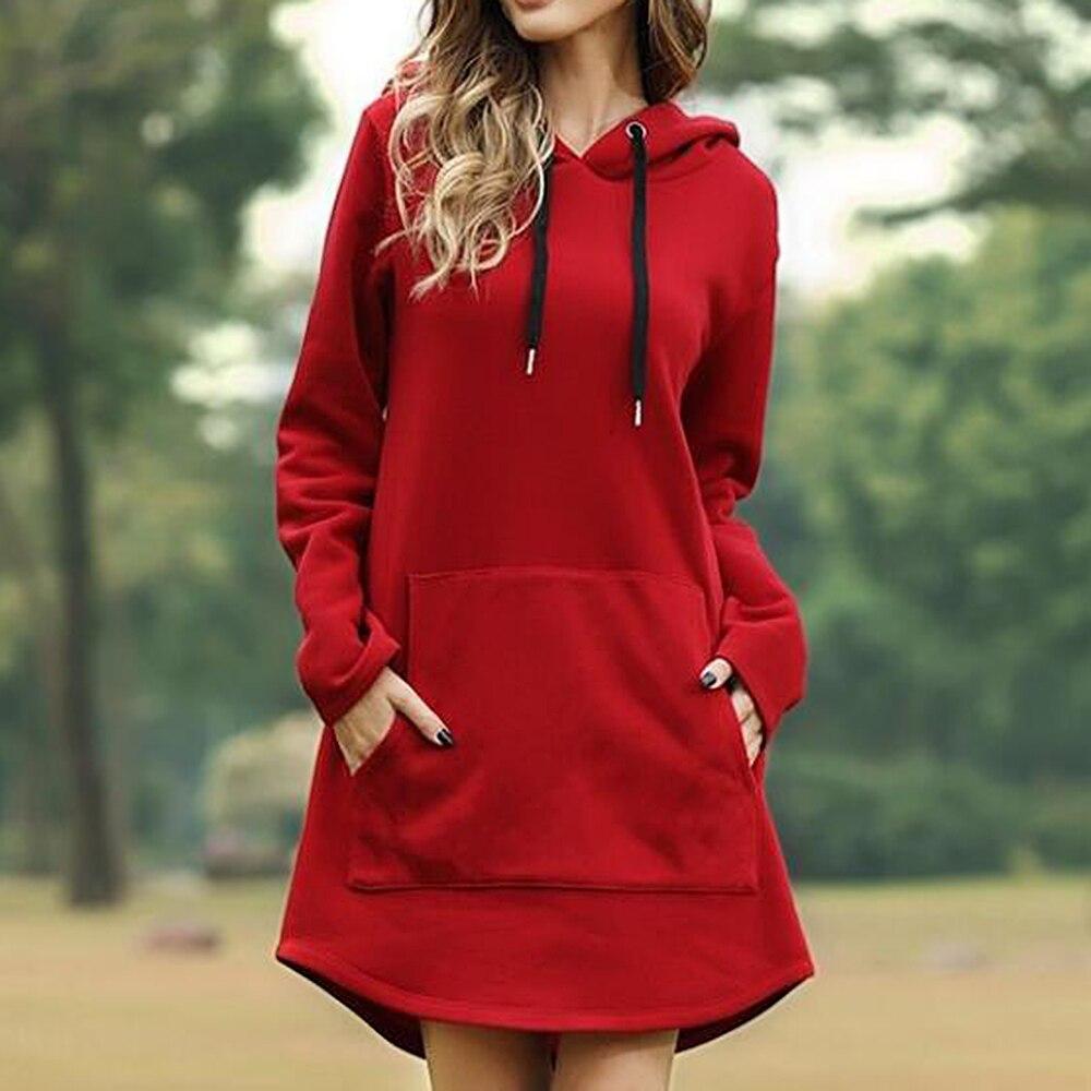 Женское свободное платье с капюшоном и длинным рукавом, свободное Повседневное платье 3XL размера плюс, Ретро стиль, женские платья средней длины с карманами Платья      АлиЭкспресс