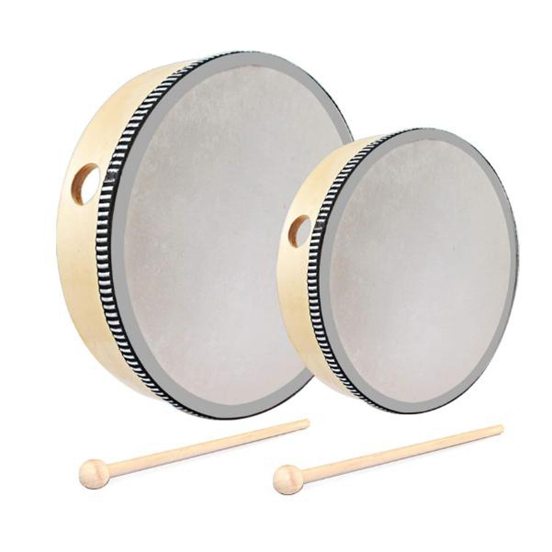 2 Pieces Hand Drum 6 Inches And 8 Inches Wood Frame Drum Percussion With Drum Sticks