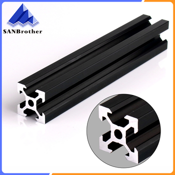 BLACK 2020 V-slot European Standard Anodized Aluminum Profile Extrusion Linear Rail for CNC 3D Printer european standard carbon steel l type connection plate for 4040 aluminum extrusion profile pack of 10