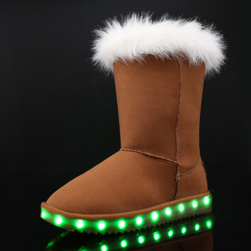 JawayKids 2019 Winter Boots For Boys Girls And Women USB Charged LED Glowing Shoes Warm Fur High-top Child Snow Boots