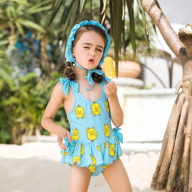 New Style Children Bow Strap One-piece Swimming Suit Douyin Small Yellow Duck Medium-small GIRL'S Swimsuit Hooded Baby Bathing S