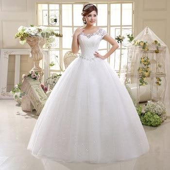 2019 Simple Wedding Dress Double Shoulders Lace Bridal Dresses Lace Up Large Size Wedding Dress Vestido Casamento