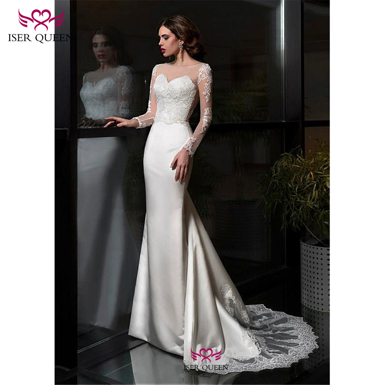 Long Sleeves Embroidered Lace On Net Sweetheart Neck Mermaid Wedding Dresses Illusion Lustrous Satin свадебные платья W0680