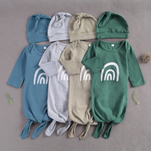 Cap-Set Blanket Wrap Sleeping-Bags Long-Sleeve Newborn Baby-Girls-Boys 2pcs Rainbow-Print
