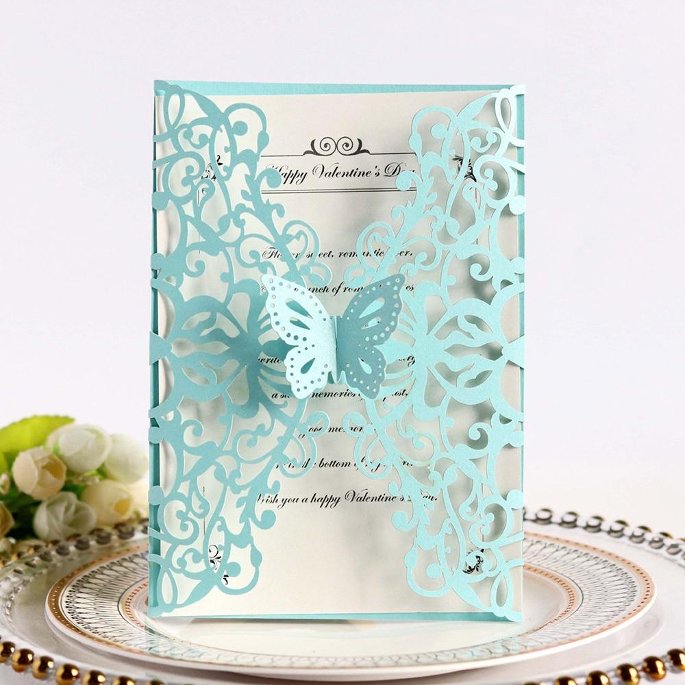 Popular 10pcs Elegant Luxury Butterfly Laser Cut Wedding Invitations Card  Paper With Ribbon Envelopes Party Wedding Decoration Cards & Invitations  -  AliExpress