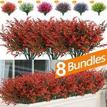 8 Пряди/пакет Искусственные цветы искусственная Лаванда цветы устойчивы к ультрафиолетовому излучению кустарники растения, не выцветает и ...
