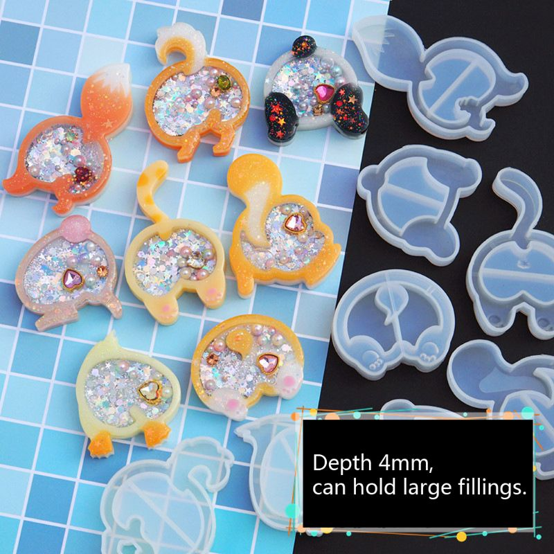 Cat Dog Duck Panada Butt Quicksand Pendant Mold Animals Hip Resin Keychain Silicone Epoxy Resin Mold Jewelry Making Tool