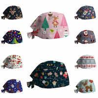 Sombrero de enfermera para mujer, gorro quirúrgico con estampado de Navidad con botones, toalla absorbente de sudor, hebilla, gorro de enfermera Baotou