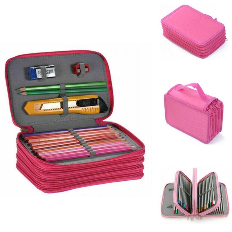 New Portable Colors Art Pencil Drawing Slots Case Holder Bag 72 Slots Pen Organizer Tote Student Pen Storage Bags Tote