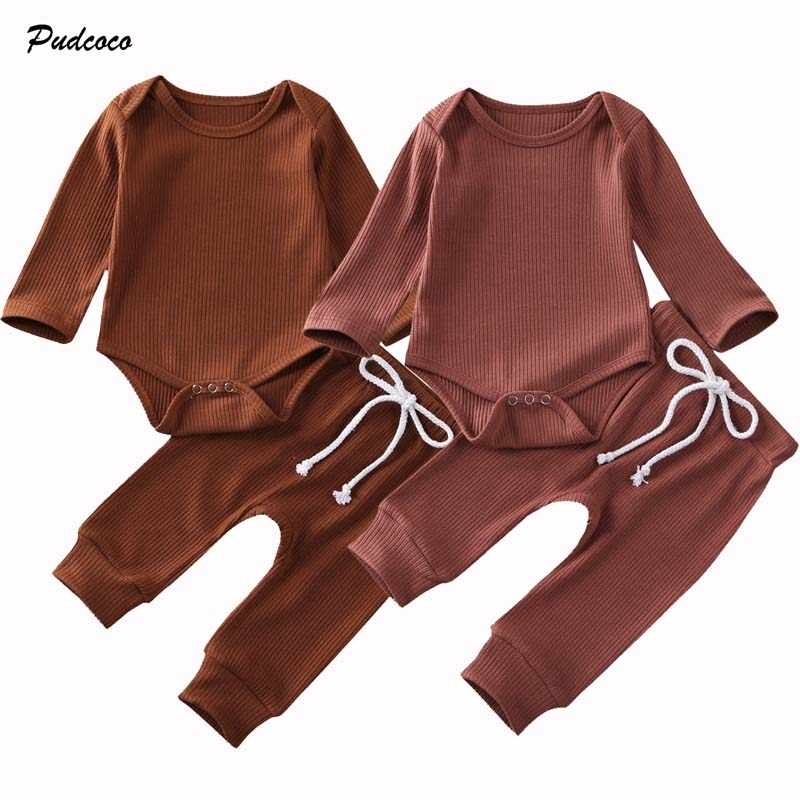 2020 Baby Spring Autumn Clothing 2pcs Newborn Baby Boy Girl Clothes Long Sleeve Romper Tops+Long Pants Ribbed Solid Outfit Set