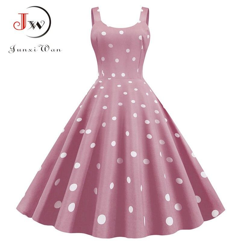 Women Summer Sexy Party Dress Casual Polka Dot Print Hepburn Vintage Robe Femme Plus Size Spaghetti Strap Midi Sundress 4