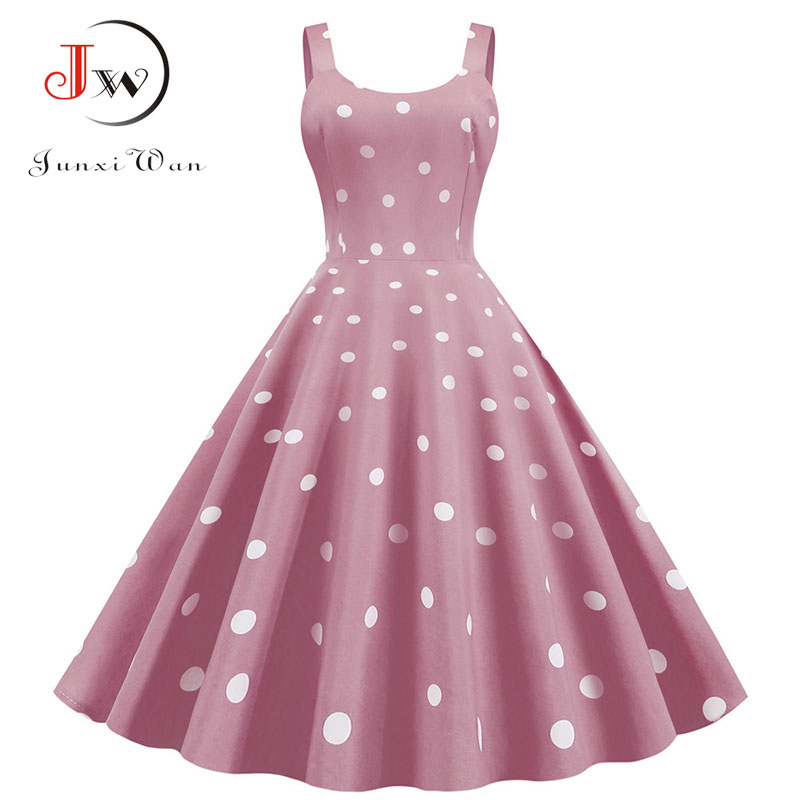 Plus Size Sexy Party Dress Women Polka Dot Print Elegant Summer A Line Rockabilly Vintage Midi Dresses Sukienki Robe Femme