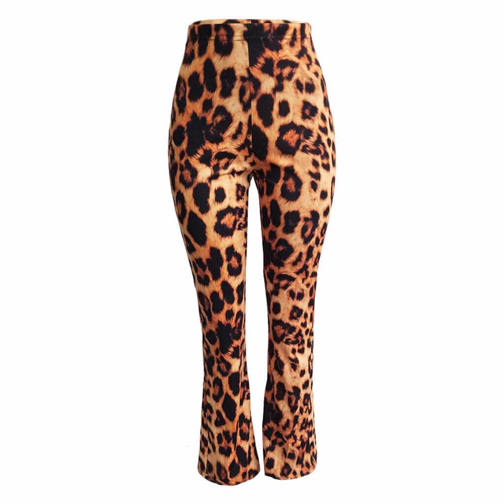 2019 Boho yaz kadın streç çan alt pantolon bayanlar İnce leopar baskı alevlendi pantolon yüksek bel moda kadınlar uzun #3