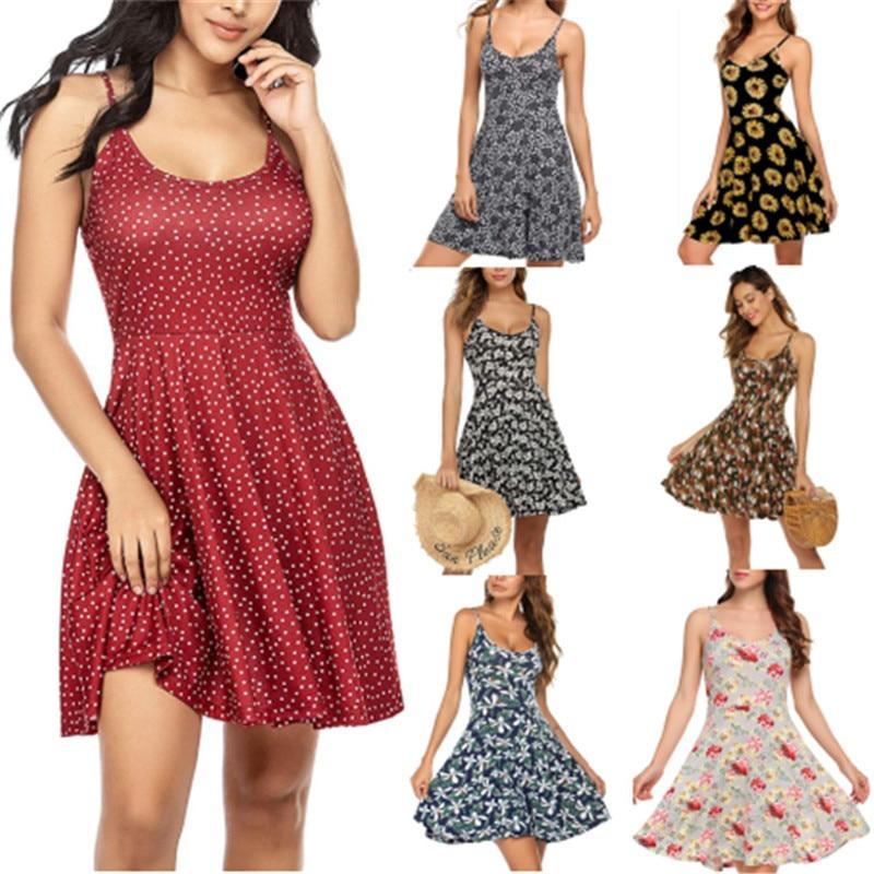 Sexy Spaghetti Strap Backless Women Dress Fashion O-Neck Print Summer Dress Plus Size Casual Beach Vestidos A-Line Robe Femme
