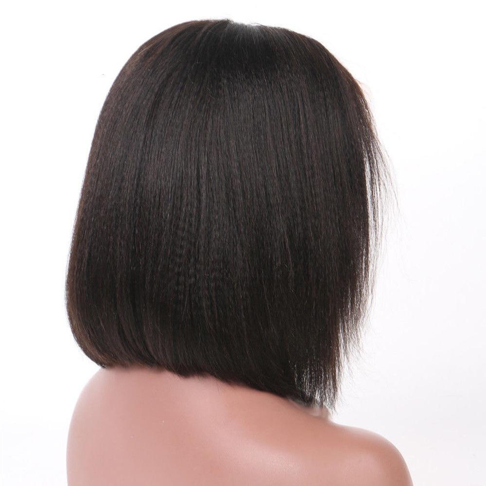 Italian Yaki Straight Bob Wig Human Hair Brazilian Remy 13x6 Deep Part Lace Front Human Hair Wigs With Baby Hair Natural Black
