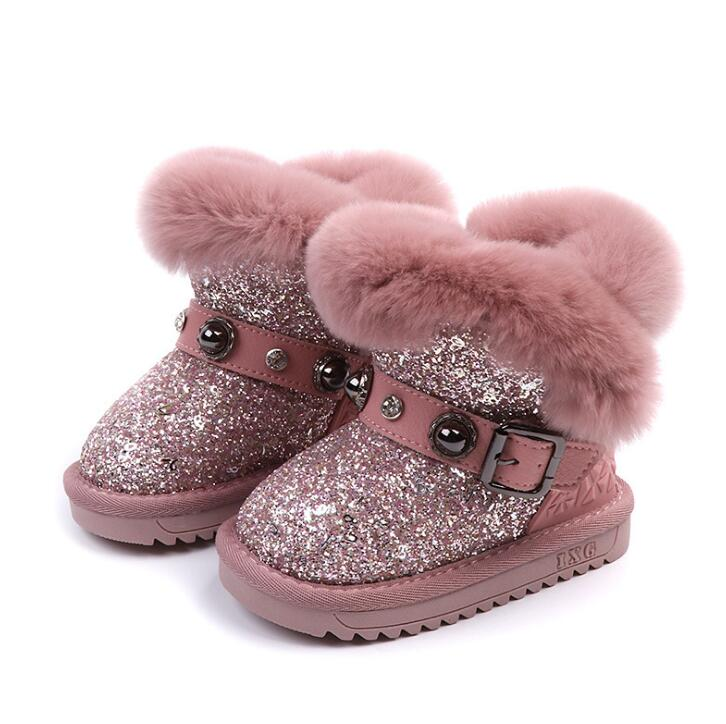 Cotton Warm Crystal Little Girls Boots Non-slip Shinning Baby Boots 2019 Winter Princess Baby Shoes Soft Sole 1-6 Years