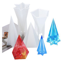 DIY Hexagonal cone Silicone Mold Pentagonal cone Mold flexible Transparent Clear Molds for Casting with Resin Candle