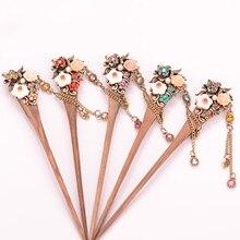 1pcs Hot Sale Women Vintage Wooden Hair Stick Pin Handmade Rhinestone Flower Hairpins Headwear Jewelry Accessories New