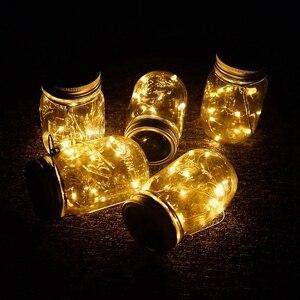Image 5 - Gorący słoik solarny, 6 szt. 20 Led sznurek świąteczne Star Firefly nakrętki na słoiki, 6 wieszaków w zestawie (słoiki nie wchodzą w skład zestawu), P