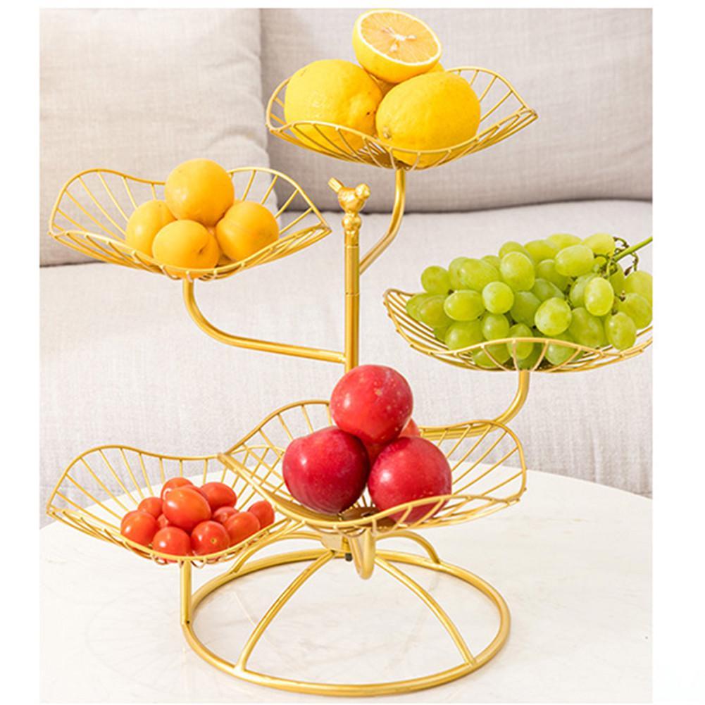 Plateau assiette de fruits boîte alimentaire | Plateau de rangement de fruits en feuille de Lotus à cinq couches, exquise assiettes de Snack de bonbons de mariage, de noël organisateur de cuisine