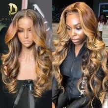 Perruque body wave lace front Wig brésilienne naturelle, cheveux à reflets, couleur blond miel 613, 28 30 pouces, T Part Lace Wig, pour femmes africaines