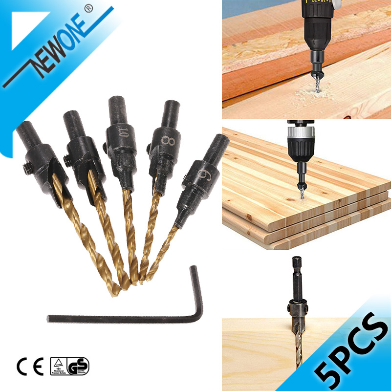 5pcs Woodworking Hex Shank 2 Flute Tct Carbide Carpentry Drill Bits Countersink Drill Bit Set For Wood,Screw Hole Opening Bits