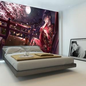 Image 2 - יפה סאקורה ילדה טפט מותאם אישית 3D קיר ניירות יפני אנימה תמונה טפט קיר בנות קיד שינה קוספליי קריקטורה