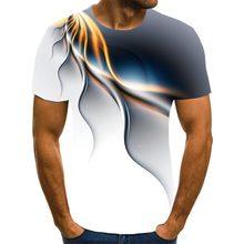 Camiseta popular para homem, 3d camisa de manga curta com estampado, camiseta com rayos únicos, camisa suelta com cuello re