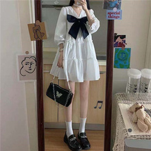 2021 summer new French bow fairy dress age reduction white cute princess dress puff sleeve dress loose large size