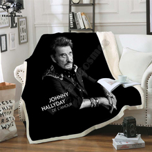 Johnny hallyday 3d printed fleece blanket for Beds Hiking Picnic Thick Quilt Fashionable Bedspread Fleece Throw Blanket style-2
