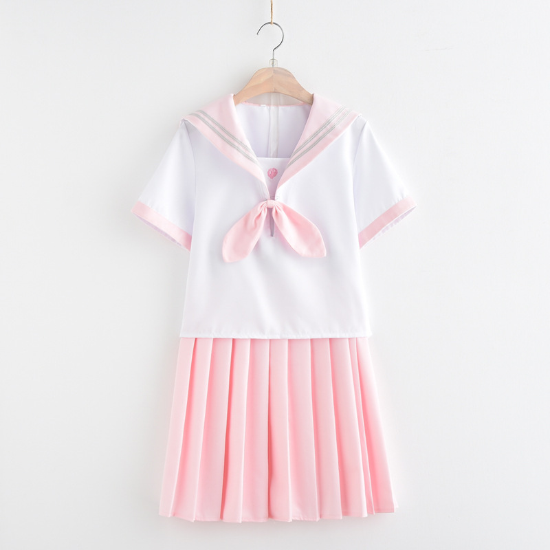 Small Fresh Japanese School Uniform Summer Embroidery Light Pink Skirt Short-sleeved+Top Suit Female Students Uniforms C65158AD