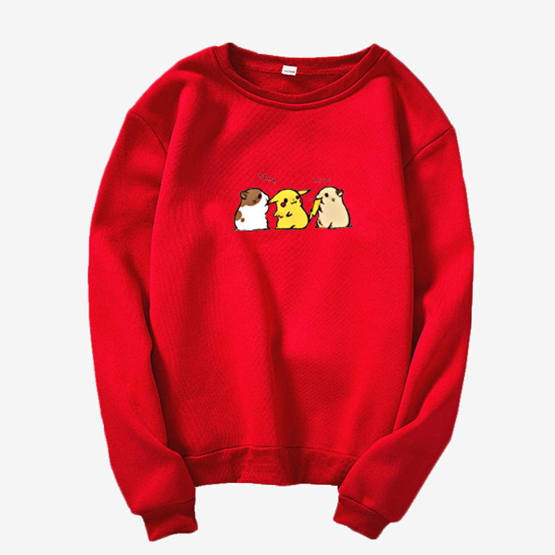 New Pokémon Include A Hangry Hamster And A Swole  Anime Funny Pokemon Print Women Clothing Round Neck Long Sleeve Sweatshirt