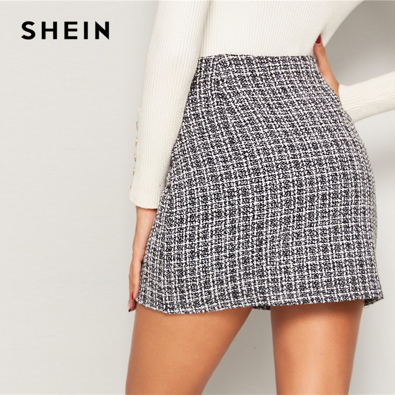 Image 2 - SHEIN Black and White Double Breasted Tweed Skirts Womens Autumn Winter Mid Waist Elegant A Line Ladies Sheath Mini Plaid Skirt-in Skirts from Women's Clothing