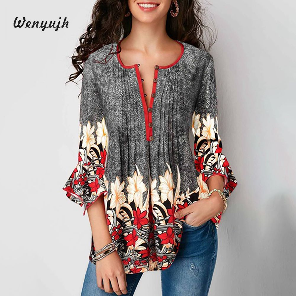 WENYUJH 2019 Summer Autumn Women V-neck Blouse Casual Seven-Sleeve Shirt Ladies Printed Lotus Sleeve Tops Female Plus Size