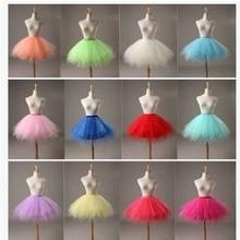 สาวสั้น Layered Tulle บัลเล่ต์ Dance Elastic Mini Tutu petticoat Ruffled Trim หวานปุยสีเจ้าหญิง Pettiskirt