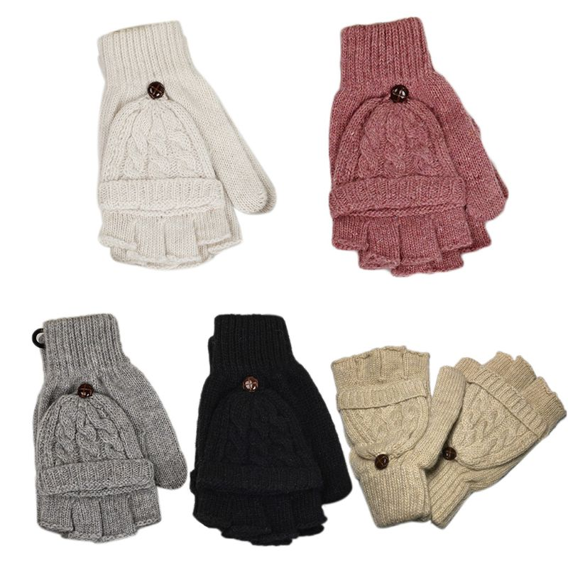 Womens Chunky Cable Knit Fingerless Mittens Winter Warm Solid Color Convertible Half Finger Gloves With Flip Cover
