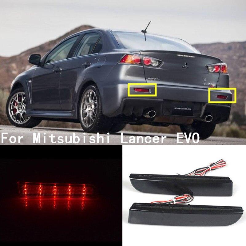 LED Bumper Reflector Smoked Lens Tail Brake Light For Mitsubishi Lancer EVO 2008-2014 Evolution X CZ4A Outlander Sport RVR ASX